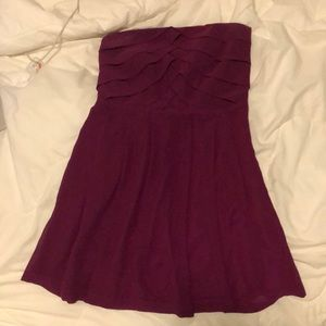 Magenta strapless dress from Express